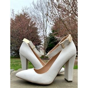 CALL IT SPRING White Pointed Toe Heels w/ Strap